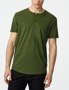ARMANI EXCHANGE Short-Sleeve Seamed Arm Henley Short Sleeve Tee U f