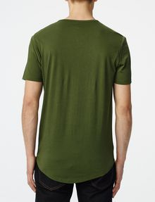 ARMANI EXCHANGE Short-Sleeve Seamed Arm Henley Short Sleeve Tee U r