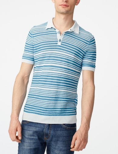 ARMANI EXCHANGE Variegated Linen Polo Man front