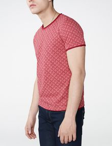 ARMANI EXCHANGE Graphic Grid Two-Layer Crew Short Sleeve Tee U d