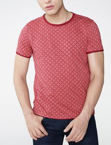 ARMANI EXCHANGE Graphic Grid Two-Layer Crew Short Sleeve Tee [*** pickupInStoreShippingNotGuaranteed_info ***] f
