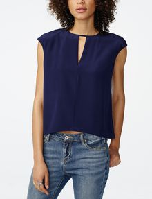 ARMANI EXCHANGE Cutout Silk Shell Shell [*** pickupInStoreShipping_info ***] f