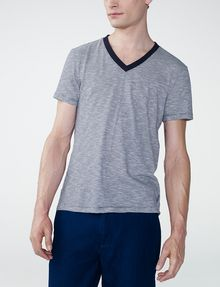 ARMANI EXCHANGE Mini-Stripe V-Neck Tee Short Sleeve Tee U f