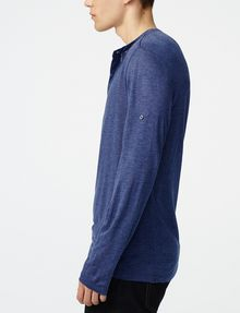 ARMANI EXCHANGE Roll-Sleeve Henley Long Sleeve tee U d