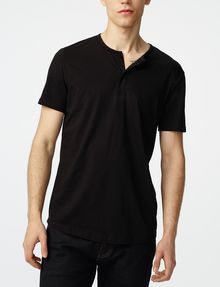 ARMANI EXCHANGE Short-Sleeve Seamed Arm Henley Short sleeve shirt Man f