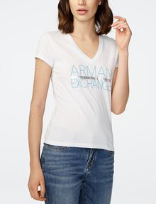 ARMANI EXCHANGE Foil Stripe Logo Tee Short Sleeve Tee D f