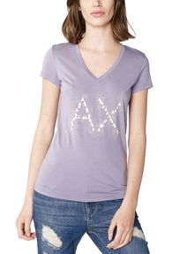 ARMANI EXCHANGE Crackle Foil Logo V-Neck Graphic Tee D f