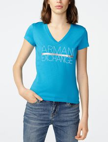 ARMANI EXCHANGE Foil Stripe Logo Tee Graphic Tee D f