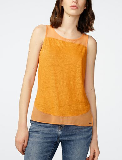 ARMANI EXCHANGE Pieced Linen Tank Woman front