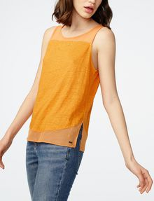 ARMANI EXCHANGE Pieced Linen Tank Tank top Woman d