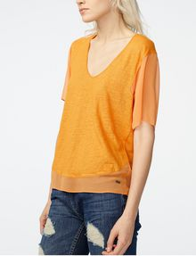 ARMANI EXCHANGE Pieced Linen Tee Blouse Woman d