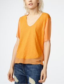ARMANI EXCHANGE Pieced Linen Tee Blouse D f