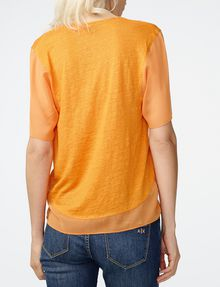 ARMANI EXCHANGE Pieced Linen Tee Blouse Woman r