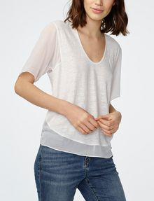 ARMANI EXCHANGE Pieced Linen Tee Short Sleeve Tee Woman f