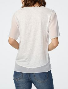 ARMANI EXCHANGE Pieced Linen Tee Short Sleeve Tee Woman r
