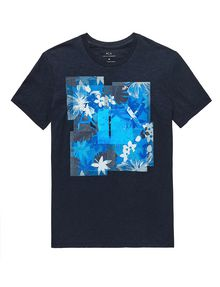 ARMANI EXCHANGE Hibiscus Logo Crew Graphic T-shirt Man d