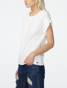 ARMANI EXCHANGE Seamed Roll-Sleeve Top Blouse D d