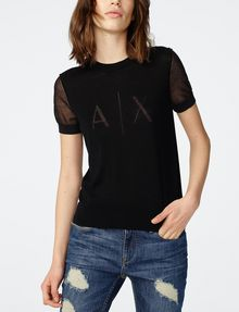 ARMANI EXCHANGE Intarsia Logo Sweater Crew Neck Woman f