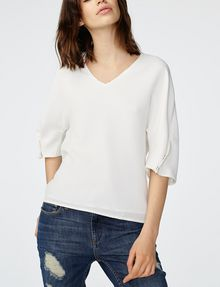 ARMANI EXCHANGE Structured V-Neck Blouse Blouse D f