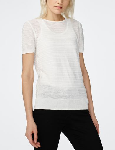 ARMANI EXCHANGE Short-Sleeve Linen Sweater Woman front