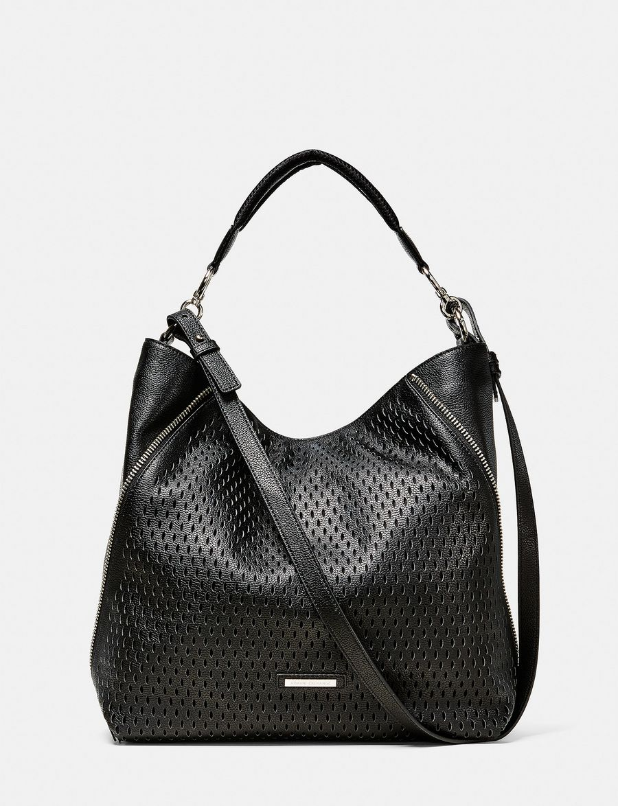 armani exchange perforated paneled hobo shoulder bag for