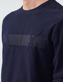 ARMANI EXCHANGE Tonal Stripe Logo Crew Crew Neck Man e