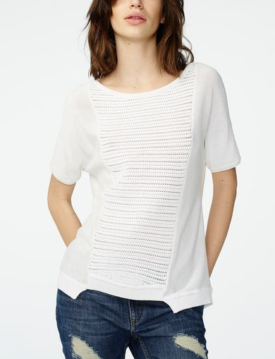 ARMANI EXCHANGE Short-Sleeve Open-Knit Sweater Woman front