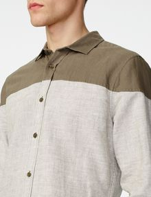 ARMANI EXCHANGE Colorblock Linen Shirt Long sleeve shirt U e
