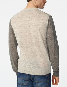 ARMANI EXCHANGE Pieced Linen Sweater Crew Neck U r