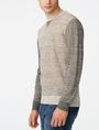 ARMANI EXCHANGE Pieced Linen Sweater Crew Neck U d