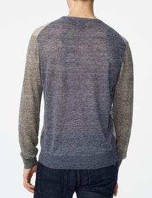 ARMANI EXCHANGE Pieced Linen Sweater Crew Neck Man r