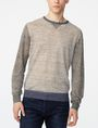 ARMANI EXCHANGE Pieced Linen Sweater Crew Neck Man f
