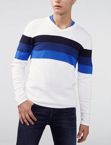 ARMANI EXCHANGE Gradient Stripe V-Neck V-Neck U f