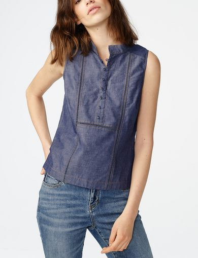 ARMANI EXCHANGE Paneled Chambray Popover Woman front