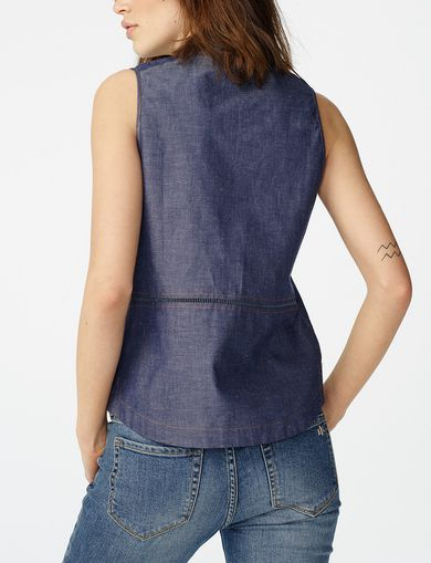ARMANI EXCHANGE Paneled Chambray Popover Woman retro