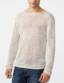 ARMANI EXCHANGE Wide-Neck Burnout Tee Crew Neck Man f