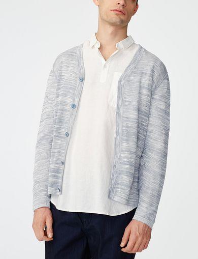 ARMANI EXCHANGE Variegated Stripe Cardigan Man front