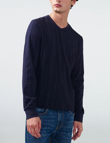 ARMANI EXCHANGE Textured Plaid Long-Sleeve Tee Crew Neck U f