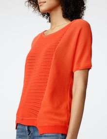 ARMANI EXCHANGE Short-Sleeve Open-Knit Sweater Crew Neck Woman e