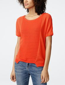 ARMANI EXCHANGE Short-Sleeve Open-Knit Sweater Crew Neck Woman f
