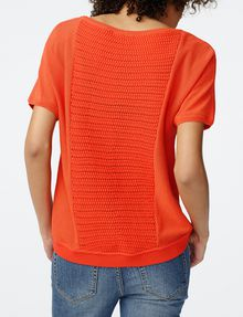 ARMANI EXCHANGE Short-Sleeve Open-Knit Sweater Crew Neck Woman r