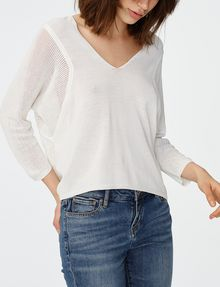 ARMANI EXCHANGE Open-Knit Dolman Sleeve Sweater V-Neck D f
