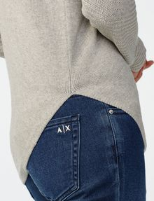 ARMANI EXCHANGE Asymmetrical Rounded Hem Sweater Crew Neck D e