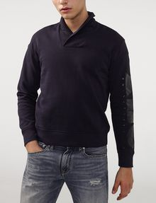 ARMANI EXCHANGE Shawl-Collar Distilled Logo Shirt V-Neck U d