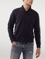ARMANI EXCHANGE Shawl-Collar Distilled Logo Shirt V-Neck U f