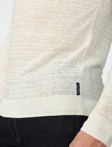 ARMANI EXCHANGE Variegated Linen Henley Crew Neck U e