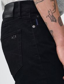 ARMANI EXCHANGE Yarn-Dye Black Slim-Fit Jean Slim Fit Denim U e