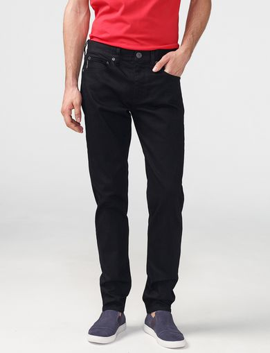 ARMANI EXCHANGE Yarn-Dye Black Straight-Leg Jean Man front