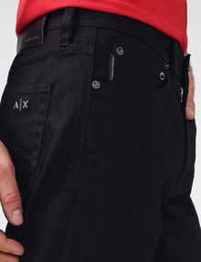 ARMANI EXCHANGE Yarn-Dye Black Straight-Leg Jean Straight Fit Denim U e