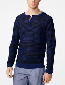 ARMANI EXCHANGE Variegated Linen Henley Crew Neck U f